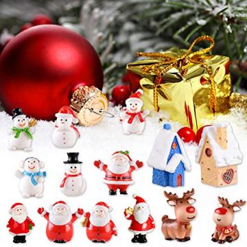 Feelava 30 Stück Weihnachten Miniatur Ornament Kits Mini Xmas Style Figuren Weihnachtsmann Weihnachtsbaum niedlichen Cartoon Xmas Decor für Home Garden Party Decor Desktop Dekoration - 6