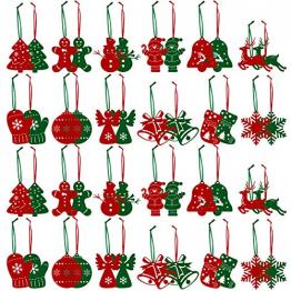 FHzytg 48 Stück Weihnachtsbaumschmuck Christbaumschmuck Filz, Weihnachtsanhänger aus Filz Christbaumschmuck Weihnachten Filz Weihnachtsbaum Deko Filz Schneeflocken für Weihnachten - 1