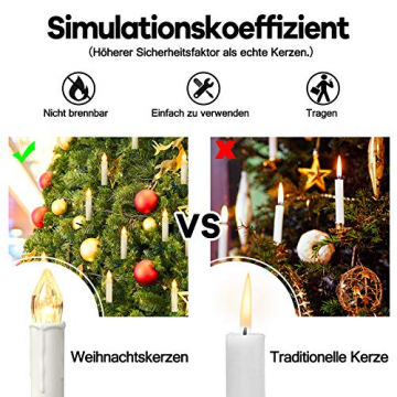 Froadp LED Flammenlose Baumkerzen Warmweiß Mini Weihnachtskerzen Batteriebetriebene Kerzen Satz Christbaumkerzen mit Fernbedienung Kabellos und Clips (30er Pack) - 3