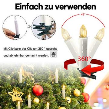 Froadp LED Flammenlose Baumkerzen Warmweiß Mini Weihnachtskerzen Batteriebetriebene Kerzen Satz Christbaumkerzen mit Fernbedienung Kabellos und Clips (30er Pack) - 4