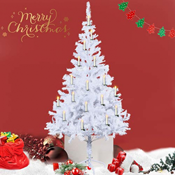 Froadp LED Flammenlose Baumkerzen Warmweiß Mini Weihnachtskerzen Batteriebetriebene Kerzen Satz Christbaumkerzen mit Fernbedienung Kabellos und Clips (30er Pack) - 7