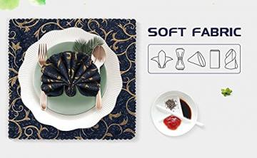 FYY 6er-Set Jacquard Stoffservietten Servietten Stoff Leinenservietten Roseus mit Damast Muster,servietten für Familienessen | Hochzeiten |Cocktail | Küche |Startseite| Erntedankfest/Weihnachten,Blau - 2