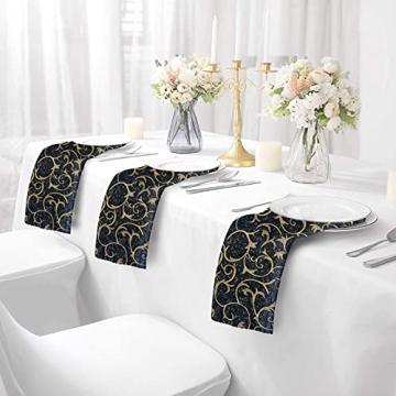 FYY 6er-Set Jacquard Stoffservietten Servietten Stoff Leinenservietten Roseus mit Damast Muster,servietten für Familienessen | Hochzeiten |Cocktail | Küche |Startseite| Erntedankfest/Weihnachten,Blau - 5