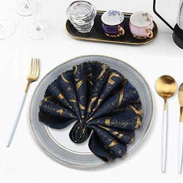 FYY 6er-Set Jacquard Stoffservietten Servietten Stoff Leinenservietten Roseus mit Damast Muster,servietten für Familienessen | Hochzeiten |Cocktail | Küche |Startseite| Erntedankfest/Weihnachten,Blau - 6