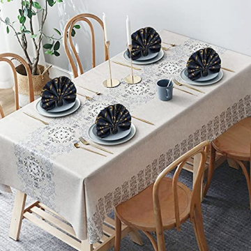 FYY 6er-Set Jacquard Stoffservietten Servietten Stoff Leinenservietten Roseus mit Damast Muster,servietten für Familienessen | Hochzeiten |Cocktail | Küche |Startseite| Erntedankfest/Weihnachten,Blau - 7