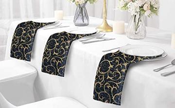 FYY 6er-Set Jacquard Stoffservietten Servietten Stoff Leinenservietten Roseus mit Damast Muster,servietten für Familienessen | Hochzeiten |Cocktail | Küche |Startseite| Erntedankfest/Weihnachten,Blau - 8