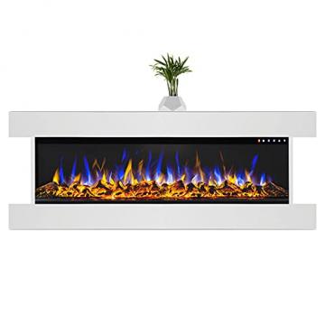 GLOW FIRE Clear 36 Elektrokamin   Wandkamin, Deko Kamin mit Multi-Color 3D-Flammeneffekt LED-Technik und Heizfunktion 1600 W   Fernbedienung, Breite 118 cm, Weiß - 1