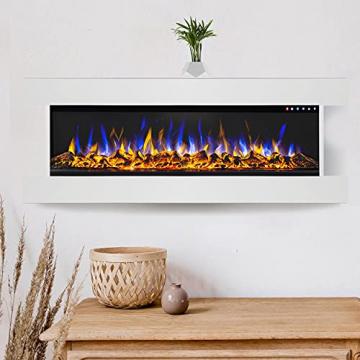 GLOW FIRE Clear 36 Elektrokamin   Wandkamin, Deko Kamin mit Multi-Color 3D-Flammeneffekt LED-Technik und Heizfunktion 1600 W   Fernbedienung, Breite 118 cm, Weiß - 6