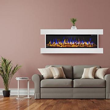 GLOW FIRE Clear 36 Elektrokamin   Wandkamin, Deko Kamin mit Multi-Color 3D-Flammeneffekt LED-Technik und Heizfunktion 1600 W   Fernbedienung, Breite 118 cm, Weiß - 8
