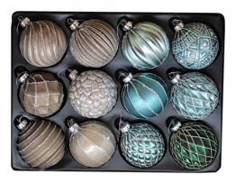 G&M 12er Set edle Christbaum-/Weihnachtskugeln aus Glas Ø 8 cm (Blau, Grün, Beige, Braun, Silber, Glitzer) - 1