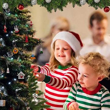 GoHist Weihnachtsanhänger Christbaum Deko, Weihnachtsverzierungen Aus, Holzanhänger Weihnachten Rot,Weihnachten Anhänger Holzanhänger,Weihnachtsbaum Deko Holz (48-teiliges) - 3