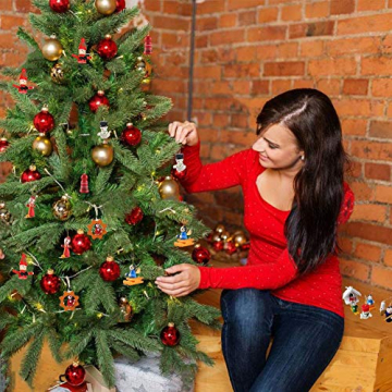 GoHist Weihnachtsanhänger Christbaum Deko, Weihnachtsverzierungen Aus, Holzanhänger Weihnachten Rot,Weihnachten Anhänger Holzanhänger,Weihnachtsbaum Deko Holz (48-teiliges) - 5