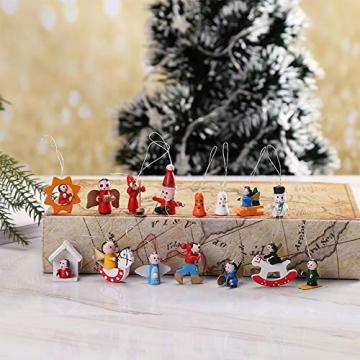 GoHist Weihnachtsanhänger Christbaum Deko, Weihnachtsverzierungen Aus, Holzanhänger Weihnachten Rot,Weihnachten Anhänger Holzanhänger,Weihnachtsbaum Deko Holz (48-teiliges) - 6