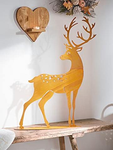 großer Metall-Hirsch im Rost-Design, für Innen + Außen geeignet, Gartendeko, Deko-Figur - 5