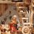 Großer ÖLBAUM-Weihnachtskrippe-Krippenstall 70 cm K70-MFig-BRK-Set ca. 70 cm breit, mit LED-Licht + Holzbrunnen + Dekor, Massivholz historisch braun - mit 12 x PREMIUM-Krippenfiguren + goldener - 3