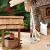 Großer ÖLBAUM-Weihnachtskrippe-Krippenstall 70 cm K70-MFig-BRK-Set ca. 70 cm breit, mit LED-Licht + Holzbrunnen + Dekor, Massivholz historisch braun - mit 12 x PREMIUM-Krippenfiguren + goldener - 4