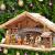 Großer ÖLBAUM-Weihnachtskrippe-Krippenstall 70 cm K70-MFig-BRK-Set ca. 70 cm breit, mit LED-Licht + Holzbrunnen + Dekor, Massivholz historisch braun - mit 12 x PREMIUM-Krippenfiguren + goldener - 1