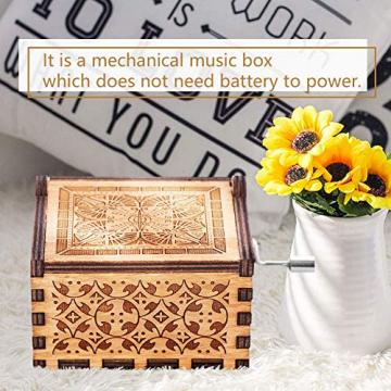 Handkurbel Musikbox Hölzerne Handkurbel Spieluhr Vintage Hand Eingraviert aus Holz Spieluhr(HP) - 3