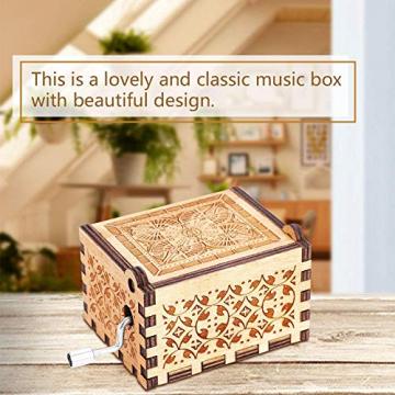 Handkurbel Musikbox Hölzerne Handkurbel Spieluhr Vintage Hand Eingraviert aus Holz Spieluhr(HP) - 4