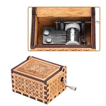 Handkurbel Musikbox Hölzerne Handkurbel Spieluhr Vintage Hand Eingraviert aus Holz Spieluhr(HP) - 6