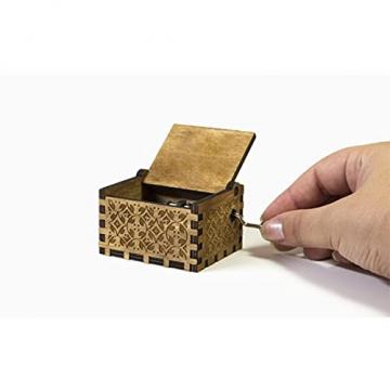Handkurbel Musikbox Hölzerne Handkurbel Spieluhr Vintage Hand Eingraviert aus Holz Spieluhr(HP) - 7