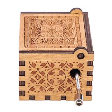 Handkurbel Musikbox Hölzerne Handkurbel Spieluhr Vintage Hand Eingraviert aus Holz Spieluhr(HP) - 8