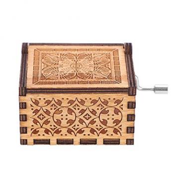 Handkurbel Musikbox Hölzerne Handkurbel Spieluhr Vintage Hand Eingraviert aus Holz Spieluhr(HP) - 9