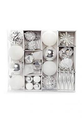 HEITMANN DECO 29er Set Christbaumkugeln - Weihnachtsschmuck Silber und weiß zum Aufhängen - Kunststoff Christbaumschmuck - 1