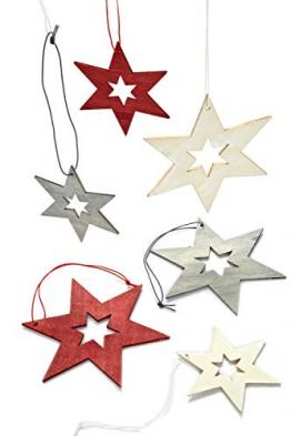 HEITMANN DECO Christbaumschmuck aus Holz - Sterne zum Aufhängen - Weihnachtsbaumschmuck Weihnachtsdeko - 24-teilig Rot, Grau, Natur - 1