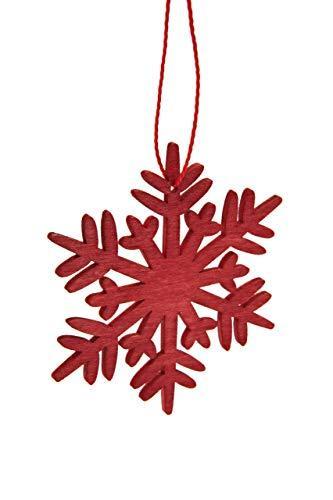 HEITMANN DECO Weihnachtsdeko aus Holz - Schneeflocken zum Aufhängen - Weihnachtsbaum Deko Weihnachtsdekoration - 24-TLG. Rot, Grau, Natur - 3