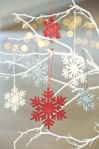 HEITMANN DECO Weihnachtsdeko aus Holz - Schneeflocken zum Aufhängen - Weihnachtsbaum Deko Weihnachtsdekoration - 24-TLG. Rot, Grau, Natur - 4