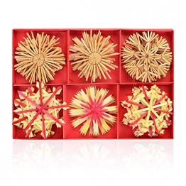 Herefun 24 Weihnachtsbaumschmuck aus Stroh Set es Gibt Sechs Arten von Grafiken, Strohsterne für den Weihnachtsbaum, Stroh Baumbehang mit Roten Akzenten Christbaum Anhänger Strohsterne Baumschmuck - 1