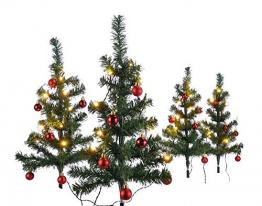 HI 4er Set Mini Weihnachtsbäume beleuchtet mit 40 warmweißen LEDs dekoriert mit 24 Baumkugeln grün künstliche Weihnachtsbäume für Innen- und Außengebrauch Tannenbäume Christbaum 63x49 cm - 1