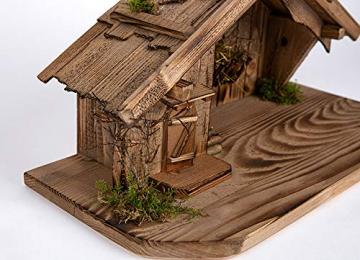 Holz und Gartentrends Weihnachtskrippe Krippe Krippenstall Weihnachten Weihnachtskrippen Tischkrippen Krippenfiguren (Weihnachtskrippe W08) - 2