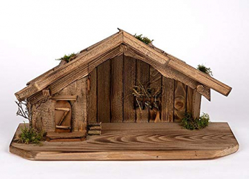 Holz und Gartentrends Weihnachtskrippe Krippe Krippenstall Weihnachten Weihnachtskrippen Tischkrippen Krippenfiguren (Weihnachtskrippe W08) - 1