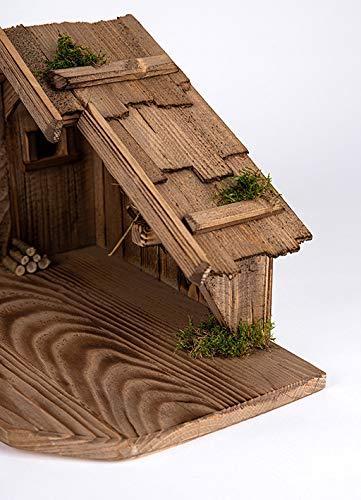 Holz und Gartentrends Weihnachtskrippe Krippe Krippenstall Weihnachten Weihnachtskrippen Tischkrippen Krippenfiguren (Weihnachtskrippe W08) - 5