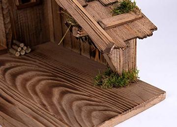 Holz und Gartentrends Weihnachtskrippe Krippe Krippenstall Weihnachten Weihnachtskrippen Tischkrippen Krippenfiguren (Weihnachtskrippe W08) - 6