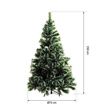HOMCOM Künstlicher Weihnachtsbaum 1,5 m Christbaum Tannenbaum 416 Äste Metallfuß PET Grün - 6