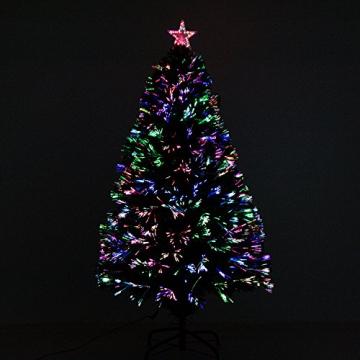 HOMCOM Weihnachtsbaum künstlicher Christbaum Tannenbaum Lichtfaser LED Baum mit Metallständer, Glasfaser-Farbwechsler, grün, 120 cm - 3