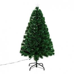HOMCOM Weihnachtsbaum künstlicher Christbaum Tannenbaum Lichtfaser LED Baum mit Metallständer, Glasfaser-Farbwechsler, grün, 120 cm - 1