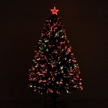 HOMCOM Weihnachtsbaum künstlicher Christbaum Tannenbaum Lichtfaser LED Baum mit Metallständer, Glasfaser-Farbwechsler, grün, 120 cm - 4