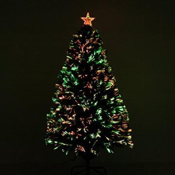 HOMCOM Weihnachtsbaum künstlicher Christbaum Tannenbaum Lichtfaser LED Baum mit Metallständer, Glasfaser-Farbwechsler, grün, 120 cm - 5