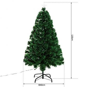 HOMCOM Weihnachtsbaum künstlicher Christbaum Tannenbaum Lichtfaser LED Baum mit Metallständer, Glasfaser-Farbwechsler, grün, 120 cm - 6
