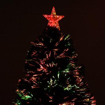 HOMCOM Weihnachtsbaum künstlicher Christbaum Tannenbaum Lichtfaser LED Baum mit Metallständer, Glasfaser-Farbwechsler, grün, 120 cm - 7
