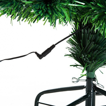 HOMCOM Weihnachtsbaum künstlicher Christbaum Tannenbaum Lichtfaser LED Baum mit Metallständer, Glasfaser-Farbwechsler, grün, 120 cm - 9