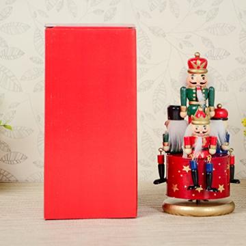 Homyl Weihnachten Nutcracker Soldaten Figuren Spieluhr Spieldose mit Uhrwerk Rote Basis - 2