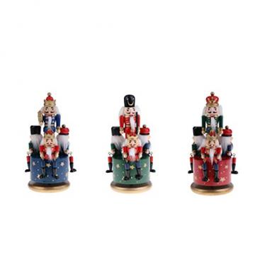 Homyl Weihnachten Nutcracker Soldaten Figuren Spieluhr Spieldose mit Uhrwerk Rote Basis - 3