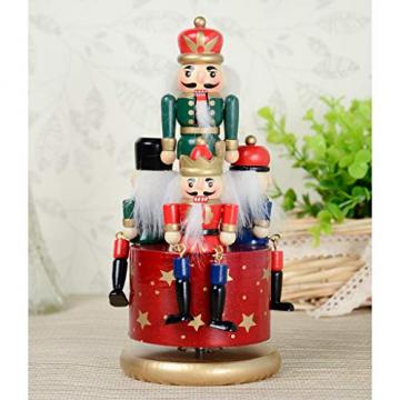 Homyl Weihnachten Nutcracker Soldaten Figuren Spieluhr Spieldose mit Uhrwerk Rote Basis - 6