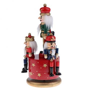 Homyl Weihnachten Nutcracker Soldaten Figuren Spieluhr Spieldose mit Uhrwerk Rote Basis - 7