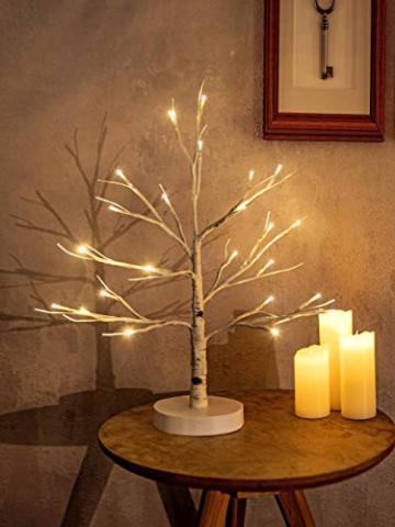 Hypestar Dekoratives Lichterbaum | Leuchtbaum mit 24 Warmweißer LEDs Licht | 45cm Lichterzweige für Tischdekoration | Zeitschaltuhr USB und Batterien | Weihnachten Ostern Party Innendeko (24led Weiß) - 1